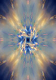Strahlen des Lichtes auf einem blauen Hintergrund Stockfoto