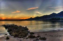 Strahlen des Sonnenaufgangs Stockfoto