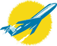 Strahlen-Flugzeugstart Stockfoto