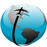 Strahlenflugzeug-Flugweg über Schatten auf Erde Stockbilder