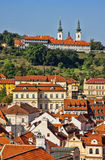 The Strahov Monastery and houses in Prague. Royalty Free Stock Image