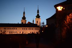 Strahovklooster in Praag in Hradcany stock foto's