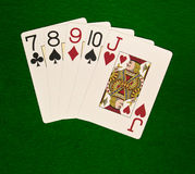 Straight. Famous poker game combination stock photos