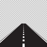 Road. Straight asphalt road highway with white markings vector illustration
