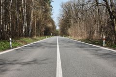 Straight asphalt road in the middle of a forest, under a blue sk Royalty Free Stock Photo