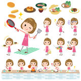 Straight bangs hair pink blouse women cooking Royalty Free Stock Photos