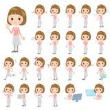 Straight bangs hair pink blouse women. Set of various poses of Straight bangs hair pink blouse women Royalty Free Stock Photo