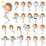 Straight bangs hair pink blouse women 2. Set of various poses of Straight bangs hair pink blouse women 2 Stock Image