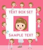 Straight bangs hair pink blouse women text box. Set of various poses of Straight bangs hair pink blouse women text box Stock Photography