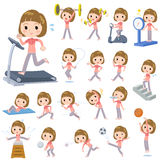 Straight bangs hair pink wear woman Sports & exercise Stock Photos