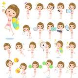 Straight bangs hair woman pink ruffle Swimwear style 2 Royalty Free Stock Photos