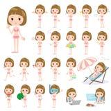 Straight bangs hair woman pink ruffle Swimwear style Royalty Free Stock Photography