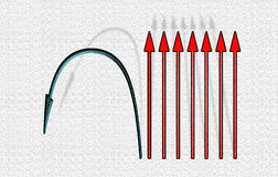 Straight and bent arrows Stock Image