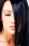 Straight black hair Stock Photos