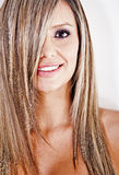 Straight blond hair Stock Images