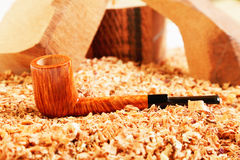 Straight briar smoking pipe Stock Photo