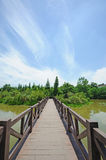 Straight bridge under blue sky. A straight bridge under blue sky Royalty Free Stock Photography