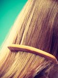 Straight brown hair with wooden comb closeup Stock Image