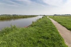 Straight canal in Dutch National Park Royalty Free Stock Photos
