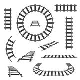 Straight and curved railroad tracks vector black icons. Transportation rail curve straight and road illustration royalty free illustration