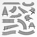Straight and curved rails icon set vector illustration