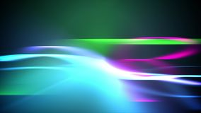 Straight and Curvy Visual Effects Backdrop. An artistic 3d rendering of a straight and curvy visual effects backdrop with shining blue, green and yellow colors Royalty Free Stock Image