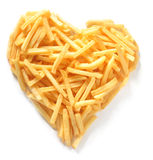 Straight Cut French Fries in Shape of Heart Royalty Free Stock Images