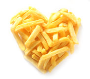 Straight Cut French Fries in Shape of Heart Royalty Free Stock Photo