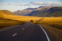 Straight empty highway to the mountains. Altay region, Russia. Stock Photos