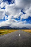 Straight empty road in the mountain, New Zealand Stock Image