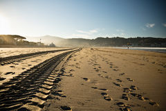 Straight engine tyre trace track on a sandy beach in hendaye Stock Images