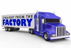 Straight from the Factory Truck Trailer Delivering Products Dire Royalty Free Stock Photo