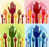 Straight fingers. Vector pack of happy volunteering hands - (straight fingers Royalty Free Stock Photo