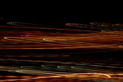 Straight flashes of light. Long lines of light from a place called Denia in Spain Stock Photo