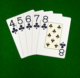 Straight flush. Famous poker game combination royalty free stock photos