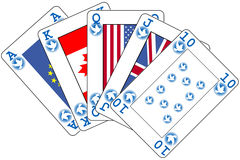 Straight flush. A winning poker hand from an imaginary deck of cards royalty free illustration