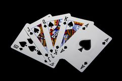 Straight Flush. On the poker table Stock Photography