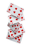 Straight flush cards falling. Dealing a straight flush of cards falling to the ground Royalty Free Stock Photos