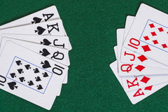 Straight flush of diamond and spade Stock Photos