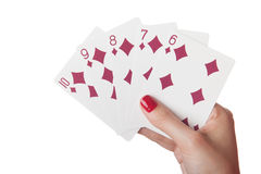 Straight Flush of diamonds in hand Stock Image