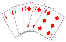 Straight Flush. A straight flush in a hand of cards royalty free illustration