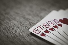 Straight flush. handing rank Royalty Free Stock Image