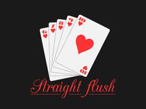 Straight flush playing cards, hearts suit. Poker hand. Stock Photos