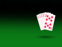 Straight Flush playing cards on the poker table Royalty Free Stock Images