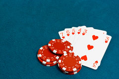 Straight flush poker. A straight flush a Winning hand in the card game of Poker Stock Photo