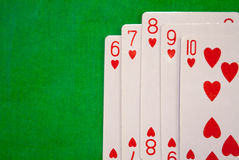 Straight flush poker cards combination on green background casino game fortune luck. Royal flush poker cards combination Stock Images