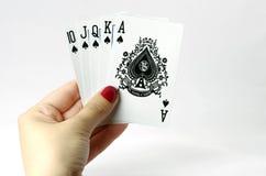 Straight flush - poker. White background Stock Photo