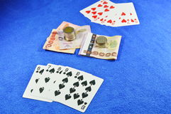 Straight flush win in poker game Stock Images