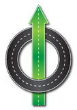 Straight forward. Illustration of a road leading straight forward and another going in circles Royalty Free Stock Photography