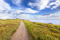 Straight gravel path in landscape. Straight gravel path in Easter Island landscape royalty free stock image